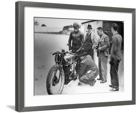 Jimmy Guthrie Riding a Norton, 1930s--Framed Art Print