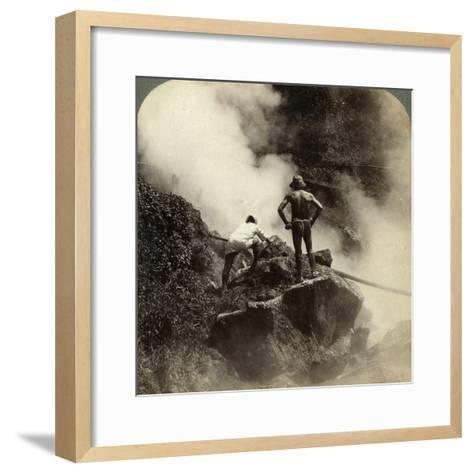 Watching an Eruption of Steam and Boiling Mud Halfway Up the Volcano of Aso-San, Japan, 1904-Underwood & Underwood-Framed Art Print