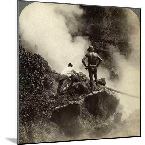 Watching an Eruption of Steam and Boiling Mud Halfway Up the Volcano of Aso-San, Japan, 1904-Underwood & Underwood-Mounted Photographic Print