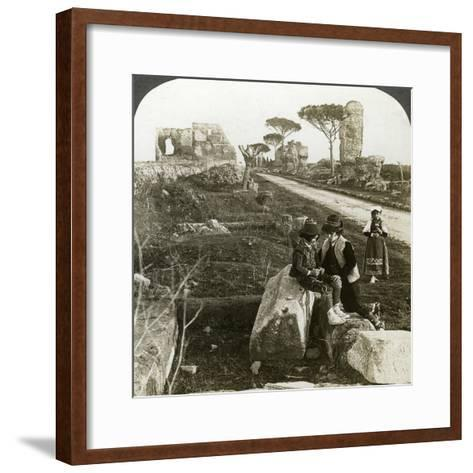 Tombs and Children in Traditional Dress, Appian Way, Rome, Italy-Underwood & Underwood-Framed Art Print