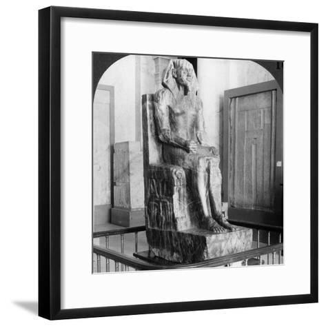 Diorite Statue of King Khafre, Builder of the Second Pyramid of Gizeh, Cairo, Egypt, 1905-Underwood & Underwood-Framed Art Print