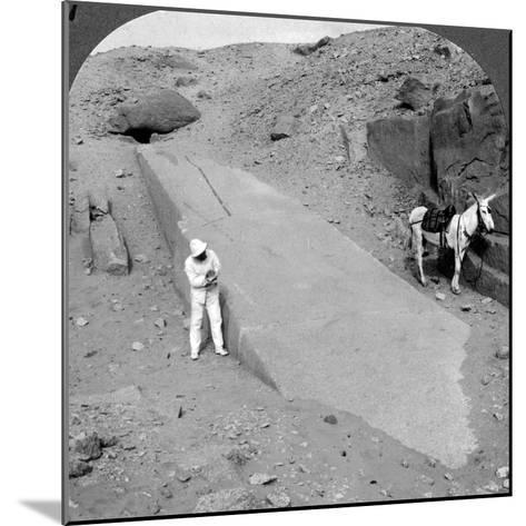 Ninety-Two Foot Obelisk Still Lying in the Quarry of Assuan (Aswa), Egypt, 1905-Underwood & Underwood-Mounted Photographic Print