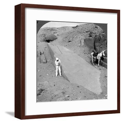 Ninety-Two Foot Obelisk Still Lying in the Quarry of Assuan (Aswa), Egypt, 1905-Underwood & Underwood-Framed Art Print