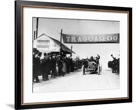 Felice Nazzaro in a Fiat Winning the Targo Florio Race, Sicily, 1907--Framed Art Print