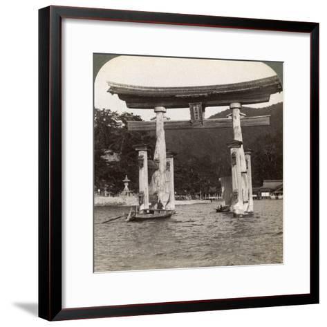 Sacred Torii Gate Rising from the Sea, Itsukushima Shrine, Miyajima Island, Japan, 1904-Underwood & Underwood-Framed Art Print