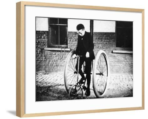 Johnny Dunlop Riding His Tricycle with Rubber Tyres, 1888--Framed Art Print