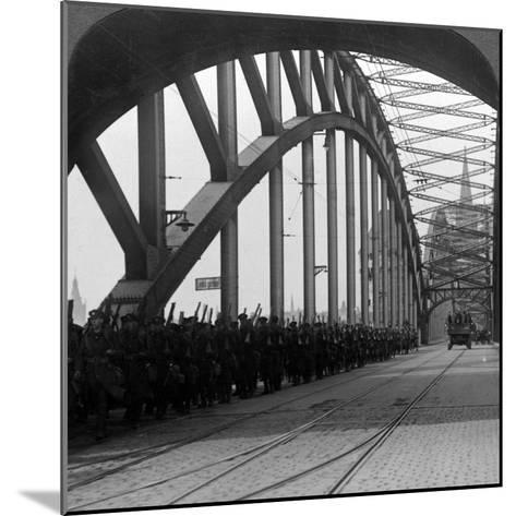 British Troops Crossing the Bridge over the Rhine, Cologne, Germany, 1918-1926--Mounted Photographic Print