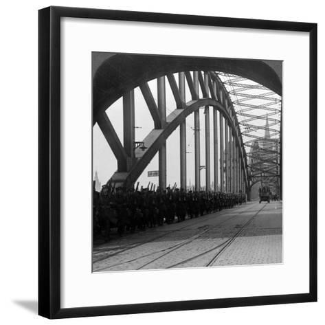 British Troops Crossing the Bridge over the Rhine, Cologne, Germany, 1918-1926--Framed Art Print