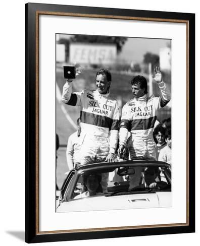 John Watson and Jan Lammers Waving at the Crowds at Jarama, Spain, 1987--Framed Art Print