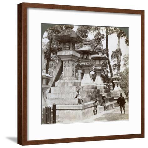 Stone Lanterns at Sumiyoshi, Osaka, Japan, 1904-Underwood & Underwood-Framed Art Print