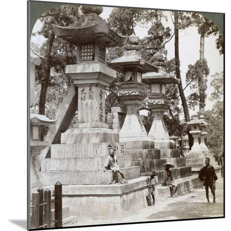 Stone Lanterns at Sumiyoshi, Osaka, Japan, 1904-Underwood & Underwood-Mounted Photographic Print