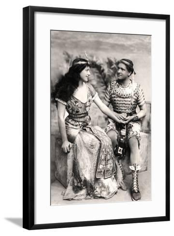 Ruth Vicent (1877-195) and Roland Cunningham in a Scene from Amasis, Early 20th Century--Framed Art Print