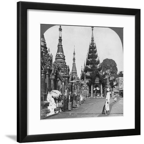 Along the Platform to the Southern Ascent, Shwedagon Pagoda, Rangoon, Burma, 1908--Framed Art Print