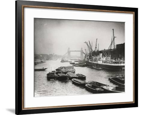 View of the Busy Thames Looking Towards Tower Bridge, London, C1920--Framed Art Print