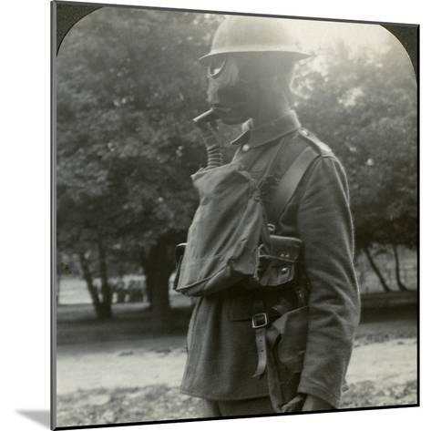 Infantry Fitted with the Latest Gas Marks and Steel Helmets, World War I, 1915-1918--Mounted Photographic Print