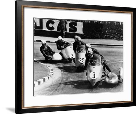 Fritz Scheidegger, Walter Schneider and Helmut Fath Competing in a Sidecar Race, 1959--Framed Art Print