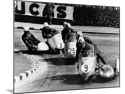 Fritz Scheidegger, Walter Schneider and Helmut Fath Competing in a Sidecar Race, 1959--Mounted Photographic Print