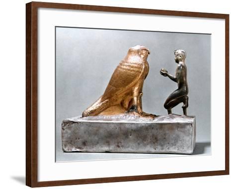 Taharqa in Front of the Falcon Hemen, Ancient Egyptian, 7th Century Bc--Framed Art Print