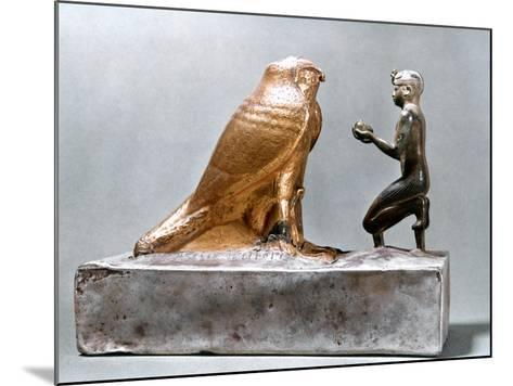Taharqa in Front of the Falcon Hemen, Ancient Egyptian, 7th Century Bc--Mounted Photographic Print