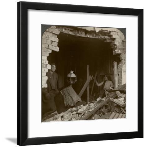 The Damage Done by a German Zeppelin Bomb, World War I, 1914-1918--Framed Art Print