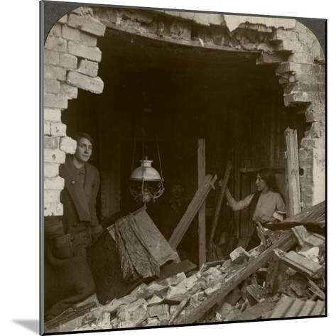 The Damage Done by a German Zeppelin Bomb, World War I, 1914-1918--Mounted Photographic Print