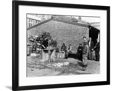 Gutting Fish Outside a Warehouse in Whitby, North Yorkshire, 1959--Framed Art Print