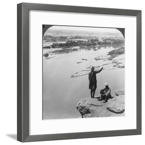 Aswan and the Island of Elephantine as Seen from the Western Cliffs, Egypt, 1905-Underwood & Underwood-Framed Art Print