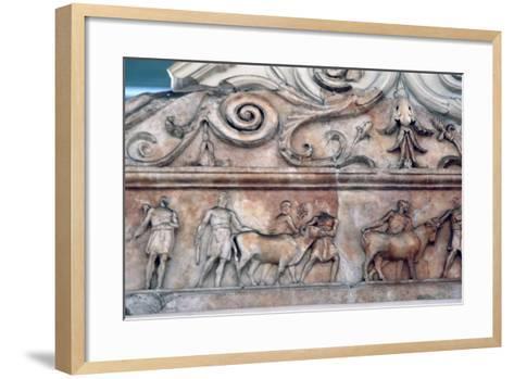 Sacrifice Scene on the Ara Pacis, Rome--Framed Art Print