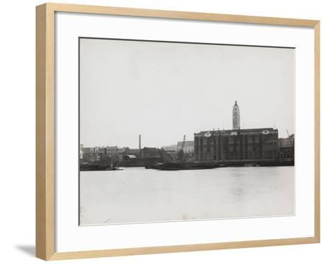 View of the South Bank Between Blackfriars and Waterloo Showing the Oxo Tower, London, 1935--Framed Art Print