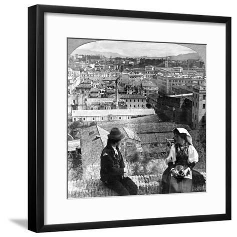 Aventine Hill and the Alban Hills, Rome, Italy-Underwood & Underwood-Framed Art Print