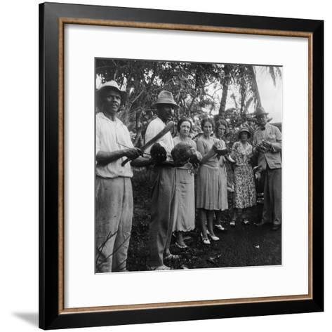 Tourists During a Halt by the Wayside, St Vincent, 1931--Framed Art Print