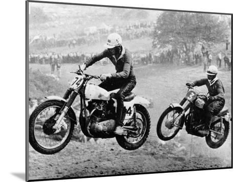 Two Motorcyclists Taking Part in Motocross at Brands Hatch, Kent--Mounted Photographic Print