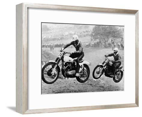 Two Motorcyclists Taking Part in Motocross at Brands Hatch, Kent--Framed Art Print