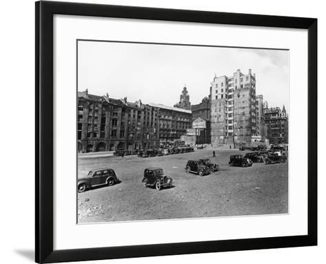 A Car Park, Brunswick Street, Liverpool, May 1946--Framed Art Print