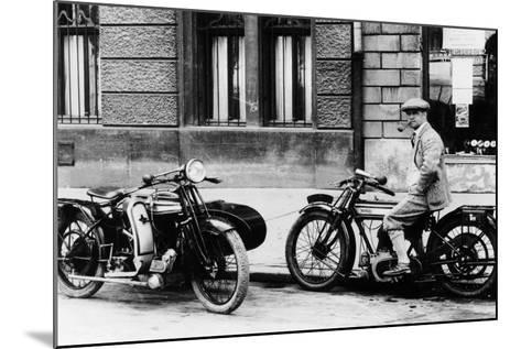 A Man on a Norton Bike, Model 16H 490CC SV, 1924--Mounted Photographic Print
