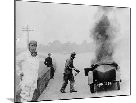 Car on Fire, Brooklands, Surrey, 1928--Mounted Photographic Print