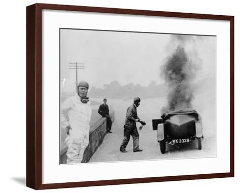 Car on Fire, Brooklands, Surrey, 1928--Framed Art Print