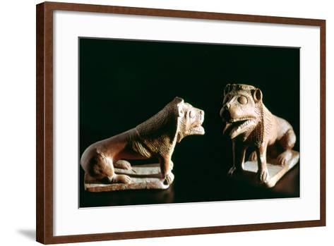 Lions, from Kerkouane, Tunisia, 3rd Century Bc--Framed Art Print