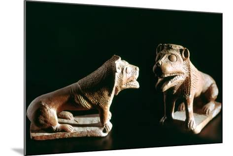 Lions, from Kerkouane, Tunisia, 3rd Century Bc--Mounted Photographic Print
