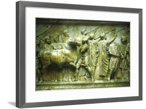 Sacrificial Procession of a Bull Preceded by Trumpeters, 30-40--Framed Art Print