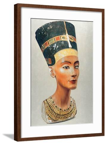 Bust of Nefertiti, Queen and Wife of the Ancient Egyptian Pharaoh Akhenaten (Amenhotep I)--Framed Art Print