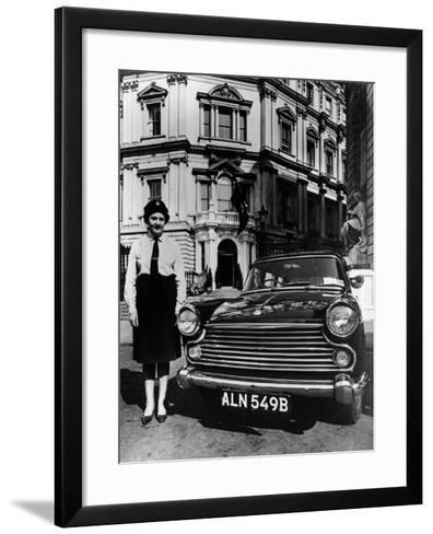 Female Chauffeur Standing by a 1964 Morris Oxford, 1964--Framed Art Print