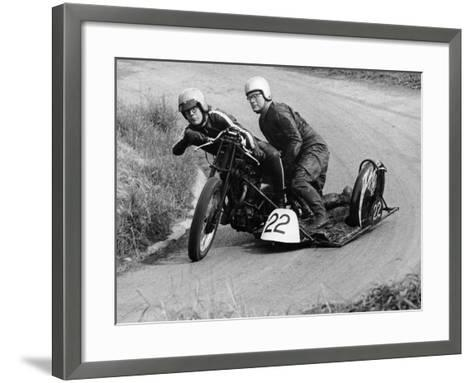 H Wilderspin Taking Part in the Gurston Hill Climb, on a 1936 Matchless Bike, 1971--Framed Art Print