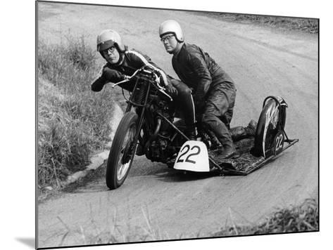 H Wilderspin Taking Part in the Gurston Hill Climb, on a 1936 Matchless Bike, 1971--Mounted Photographic Print