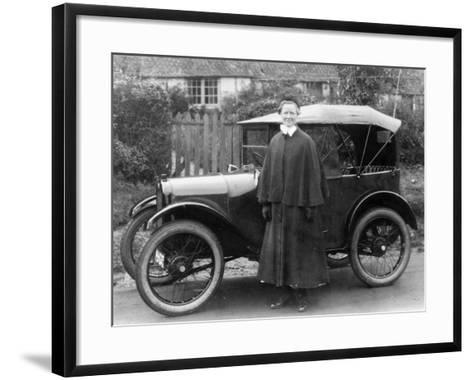 Woman with an Austin Seven, C1923--Framed Art Print