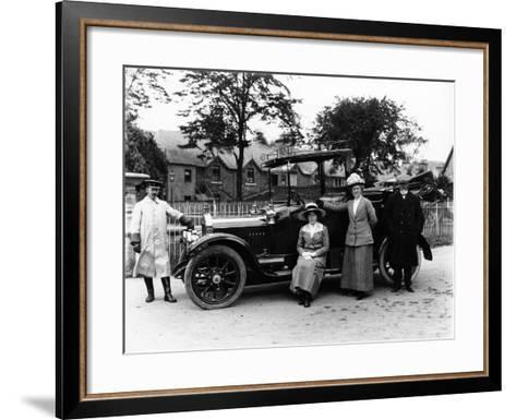 People with a 1914 Singer--Framed Art Print