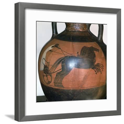 Greek Vase Depicting a Chariot, C5th-6th Century Bc--Framed Art Print