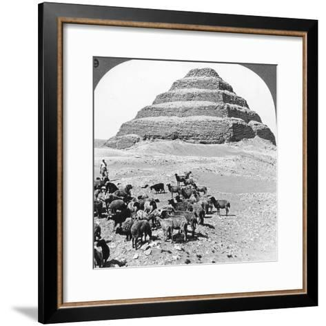 The Pyramid of Sakkarah, Egypt, 1905-Underwood & Underwood-Framed Art Print