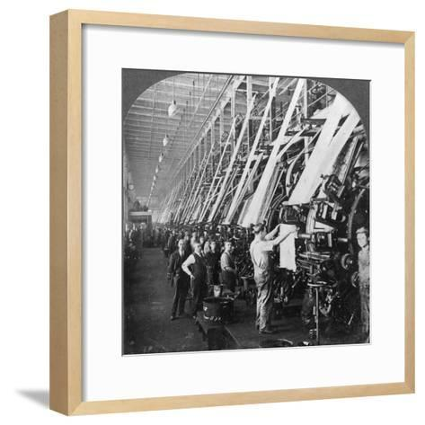 General View of a Large Printing Room in a Cotton Mill, Lawrence, Massachusetts, USA--Framed Art Print