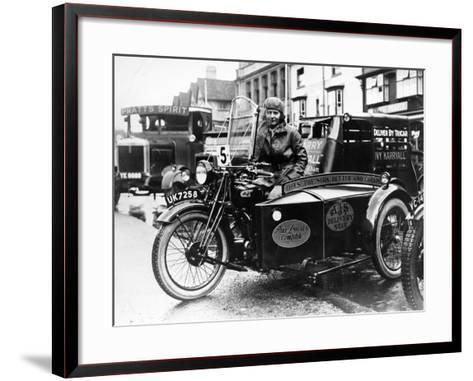 Woman Riding a 1929 500Cc Ajs Motorbike, (C1929)--Framed Art Print